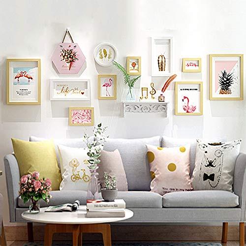 Photo wall-parete in legno massello photo frame creativo combinazione divano da parete decorazione da parete scatola originale bicolore bianca