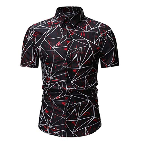 JYJM 2019 Männer Muster Lässige Mode Druck Revers Camouflage Kurzarm Hemd Unisex Herren Damen Bademantel Prato mit Kapuze/Größen XXS - 5XL / Öko-Tex Standard Herren Small Text T-Shirt
