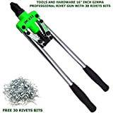 , YABON , ULTRA TOUCH Eternity Mega Professional Tools and Hardware Double Core-Pulling Hand Rivet Gun Tool with 40 Bits…