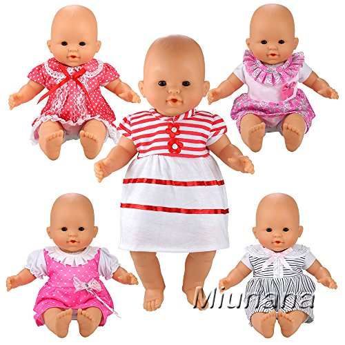 Passenden Doll Schlafanzug (Miunana 5 Sets Kleid Puppenkleidung Kleidung Kleider Schlafanzug für 36cm Babypuppe Puppen American Girl Doll Ohne Puppe)