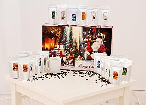 Adventskalender mit hochwertigem Kaffee aus aller Welt. Erhältlich mit Pads, gemahlenen Bohnen, Ganzen Bohnen und mit