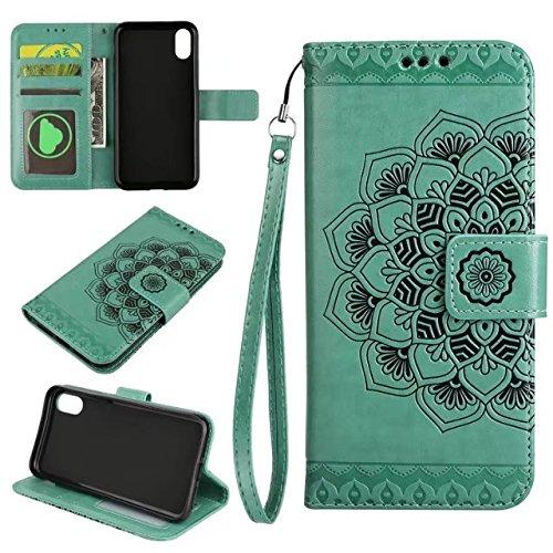 YHUISEN iPhone X Fall,Embossed half Flower Design [Wrist strap] Premium PU Leder Geldbörse Pouch Flip Ständer Case für iPhone X (2017) ( Color : Gray ) Green