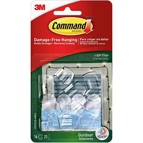 3M Command Outdoor Light Clip 16/Pkg-16 Clear Clips & 20 Strips