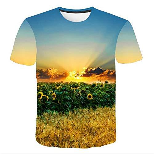Bedruckte Herren T-Shirts für den Sommer Vintage und Urlaub Lässige Neuheit Cool Travel T-Shirt mit kurzen Ärmeln,3D gedrucktes Sonnenblumengelb S
