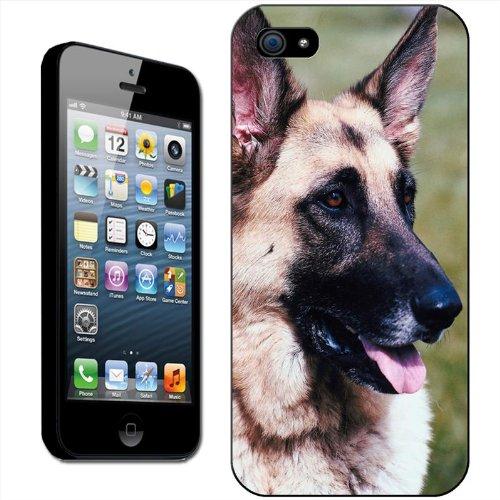Chiens–Berger Allemand Coque arrière rigide détachable pour Apple iPhone modèles, plastique, Close Up Of Face, iPhone 5C German Shepherd Dog