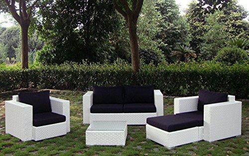 Baidani Gartenmöbel-Sets 10c00042.00002 Designer Rattan Lounge-Garnitur Calypso, 1 2-er-Sofa, 2 Sessel, 1 Hocker, 1 Couch-Tisch mit Glasplatte, braun - 9