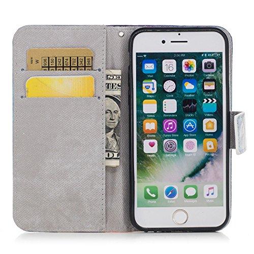 Hülle Für iPhone 7 Plus 5,5 Zoll,Sunrive Magnetisch Muster Schaltfläche Ledertasche Schutzhülle Etui Hülle Leder mit Standfunktion Cover Tasche Case Handyhülle Kartenfächer Kreditkarte Taschen Schalen Einhorn
