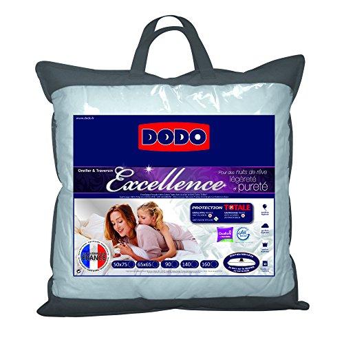 Dodo Excellence Oreiller Classique 65 x 65 cm Synthétique Anti-Acariens + Anti-Taches + Anti-Bactériens + Anti-Fongique Medium