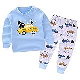 CHIC-CHIC Ensemble Sport Pyjama Bébé Filles Garçons Enfants Top Manches Longues + Pantalon Ensemble Costume Vêtement de Nuit Voiture Imprimé Bleu 5-6ans