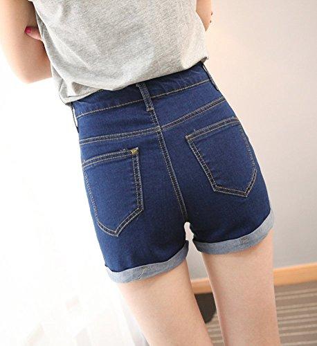 e4cbdefe09f530 Cystyle Damen Vintage Freizeit Denim Kurz Jeans Hot Pants Hohe Taille Jeans  Shorts Denim Shorts Marineblau