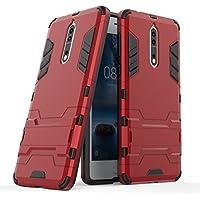 Ougger Fundas para Nokia 8 Carcasa Cover, Protector Extrema Absorción de Impacto [Soporte de vídeo] Armor Cover Duro Plástico + Suave TPU Ligero Rubber 2in1 Back Gear Rear Rojo