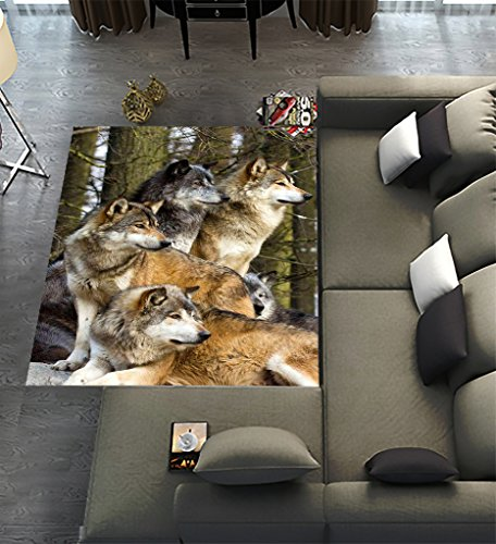 "BEAUDI Custom Wolfs Wild Animal,Area Rug Dining Room Home Bedroom Carpet Floor Mat 5\' x 3\'3\"""