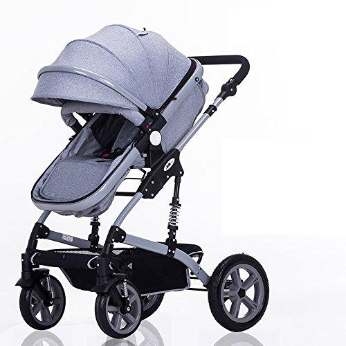 Cuatro rondas de carritos para niños, carros de bebé, pueden montar carruajes de bebé, coches de bebé de alto perfil, carros de bebé de choque ( Color : Gris )