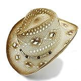 JDON-HAT, Cappello da cowboy occidentale da donna, uomo, da donna, con cappuccio, paglia, cappello da cowboy occidentale, gentiluomo, estate, da donna, da cowgirl, papà, sombrero, spiaggia, conchiglia, sole, cappello ( Color : 1 , Size : 57cm-58cm )