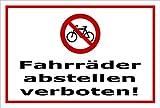 Schild - Fahrräder abstellen verboten - 15x10cm mit Bohrlöchern | stabile 3mm starke PVC Hartschaumplatte – S00050-045-B +++ in 20 Varianten erhältlich