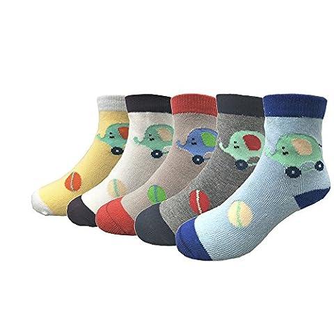 Ambielly Baby Non-Skid gemütliche weiche Baumwolle Socken Value Pack, für 12 - 48 Monate, 4 Paare / Set (5 Paar Kleiner Elefant)
