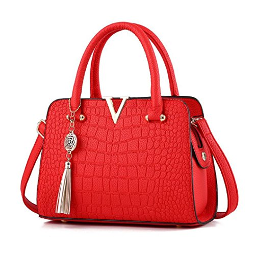 YULAND Handtasche Damen, Schultertaschen Für Damen Tasche Für Damen Rucksack Ledertasche Kleine Quaste Crossbodyn Leder Handtasche Alligator Muster Schultertasche (Rot)