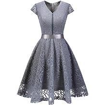 ac8d907845 MuaDress Fashion Vestido Corto De Fiesta Elegante Mujer De Encaje Escote en  V Estampado Flor Vestido