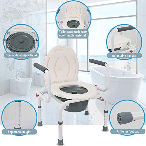HJJKERLCBP Höhenverstellbare Kommode Rollstuhl Nachttisch WC & Duschsitz Bad Stuhl Elder Klappstuhl Wasserdicht -