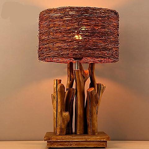 LLYY-Lampada da tavolo rotondo nordico moderno minimalista in legno di creativo erba retrò in rattan intrecciato tavolo Lampade comodino soggiorno camera da letto-LYA