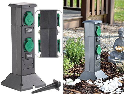 Royal Gardineer Steckdosensäule: 4-fach-Steckdosen-Säule für den Garten, spritzwassergeschützt IP44 (Gartensteckdosen)