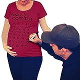 Juleya Tshirts Mutterschaft Baby Kommt Schwangerschaft Shirt Kurzarm Brief Print Tops Weinrot 2XL