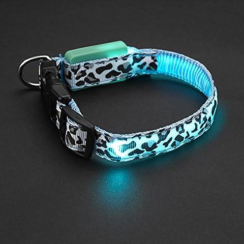 FONPOO FP3100 LED Colorido Collar de seguridad para mascotas con estilo de impresión de leopardo alta visibilidad en oscuridad para pequeños y medios mascotas