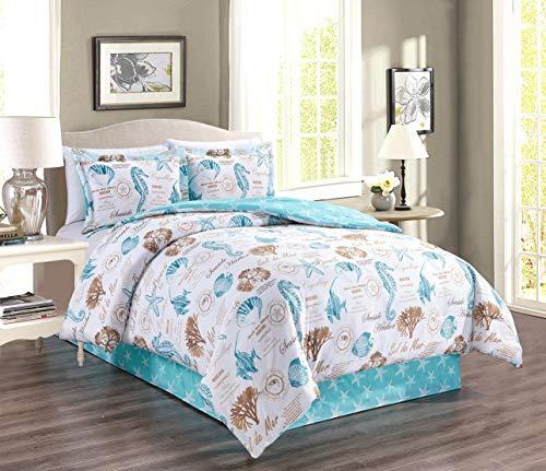 GrandLinen 4-teiliges und 3-teiliges Feines bedrucktes Bettdecken-Set mit Gänsedaunen, Alternative für Doppelbett, King-Size-Bett und King-Size-Bett King Aqua Blue, Beach, Sand, White