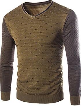 Uomini maglione in autunno e in inverno, punti di strisce sottili di copertura, verde XXL