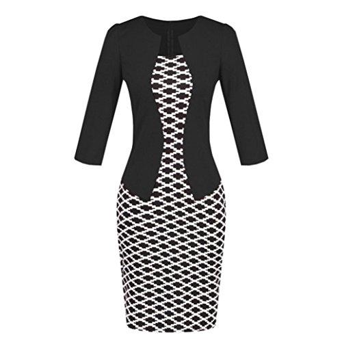 MOIKA Damen Kleid, New Frauen Colorblock Plaid Wear zu arbeiten Business Party Bodycon einteilige Schärpe Kleid(L,Schwarz) - Colorblock Tunika Pullover