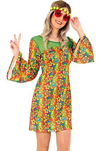 KarnevalsTeufel Kostüm-Set Hippie für Erwachsene, 3-teilig Kleid, Blumen-Haarband und Hippie-Brille, 60er Jahre, Peace, Flower - Power | Karneval, Mottoparty (38)
