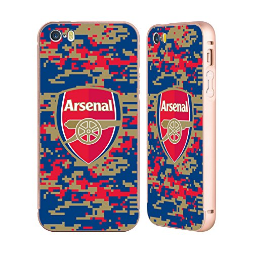 Ufficiale Arsenal FC Mimetizzazione 2017/18 Modelli Crest Oro Cover Contorno con Bumper in Alluminio per Apple iPhone 5 / 5s / SE Mimetizzazione Digitale