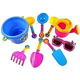 Baoblaze 9pcs Mini Kunststoff Spaten Schaufel Sandspielzeug Set Für Kinder im Ferien Strand Wasser Spielspaß