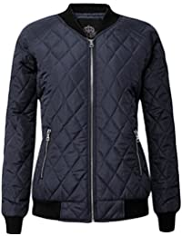 Womens Puffer Quilted Padded Bomber Puffa Coat Zip Ma1 Jacket Ribbed Ladies UK
