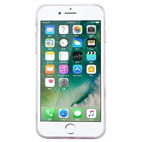 Custodia iPhone 7 Plus, VemMore Case di Silicone Morbida Protettiva Lusso Sparkle Bling Gilitter Cover con 3D Patterned Floating Liquido Fluido Premium Custodia di Cristallo Molle TPU Caso del Creativ Alberi di cocco