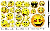XXL Emoji Smiley Vinyl Aufkleber Riesen-Sticker Dekoration 001/3 große Bögen (30 x 55 cm)/teilweise mehrschichtig mit 3D Effekt und Hologramm-Aufdruck/Lustige Whatsapp Facebook Emoticon Deko