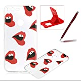 For Google Pixel Case,For Google Pixel Cover,Herzzer Ultra Slim Fashion [Red Lips Pattern] Clear Crystal Soft Silicone Gel Bumper Cover Flexible TPU Transparent Skin Protective Case for Google Pixel + 1 x Free Red Cellphone Kickstand + 1 x Free Claret-Red Stylus Pen