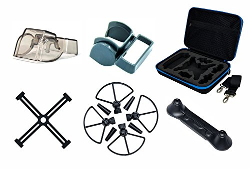 freewell DJI Spark Essential Zubehör Bundle EVA Fall, propellear Guard, Bein Extender, Gimbal Displayschutzfolie, Objektiv Sunhood, Fernbedienung Joystick Schutz