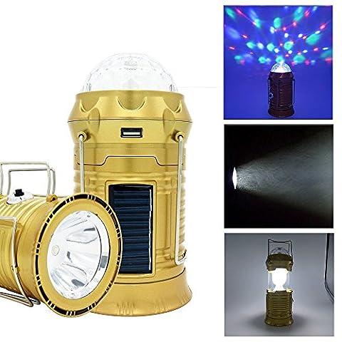 Solar Camping Laterne zusammenklappbare LED Party Licht BizoeRade tragbare Taschenlampe wiederaufladbare Solar Power Bank für Handy Tablette Outdoor Trekking Wandern Zelt Fischen USB Kabel gehören