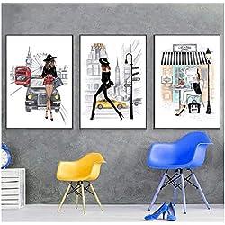 YIBINGLI New York Affiches et Posters Fashion City Londres Paris Wall Art NYC Imprimer Décoration Photos Photos pour Salon Peinture sur Toile 40x60cmx3 sans Cadre