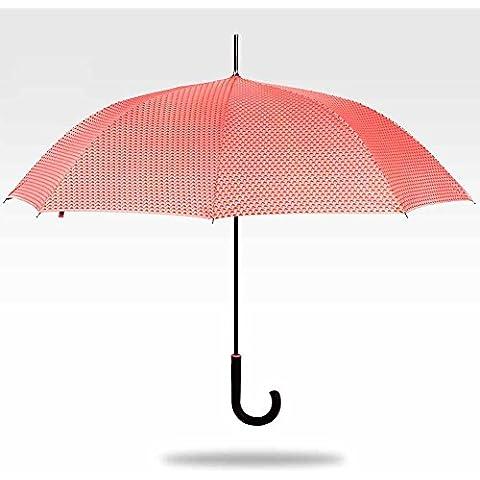 SSBY Paraguas doble uso vinilo protector solar UV, barra recta paraguas mango paraguas semi-automático femenino, robustos y portátiles , Green