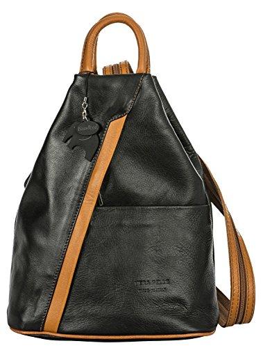 Big Handbag Shop, Borsa a zainetto donna Black (Tan Trim)
