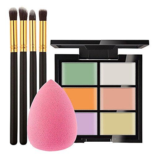 Vococal Correcteur et 4Pcs Pinceau de Maquillage et 4Pcs Éponge Puff Outils de Beauté