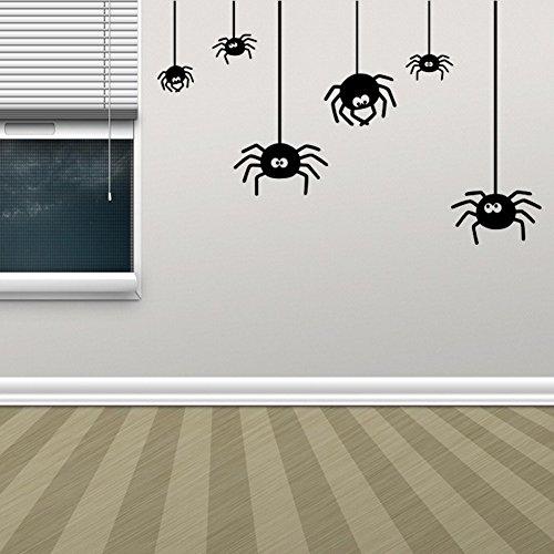 BIBITIME Vivid 3D Scary Halloween Wand Aufkleber Aufkleber Art Home Canvas Dekoration Halloween Reference Small Spider (Spider Dekorationen Für Halloween)