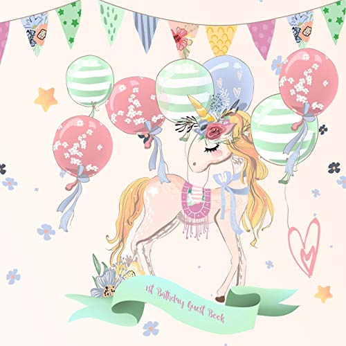 1st Birthday Guest Book: Sweet Unicorn Keepsake for Family and Friends to Write in Fairy Castle Album