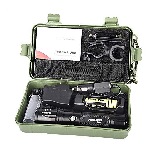 ☀️ Linterna táctica + 18650 batería + cargador + caja X800 Zoomable...