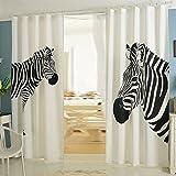 NACHEN Vorhänge Wohnzimmer Blackout Schlafzimmer Zebra Vorhang 2 STÜCKE, Zebra, 130 * 270cm