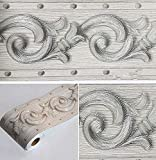 Bordo adesivo per carta da parati con motivo floreale 3D, colore grigio, autoadesivo, impermeabile, decorativo, per bagno, soggiorno, cucina, parete, 10 cm x 5 m