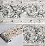 Papel pintado 3D con diseño floral, color gris, autoadhesivo, impermeable, borde decorativo para baño, sala de estar, cocina, pared de 10 cm por 5 metros