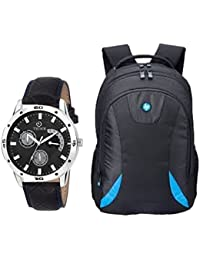 TIMER Combo Of Stylsih Black Color Dial Watch With Black Waterproof HP Bag For Men & Boy's